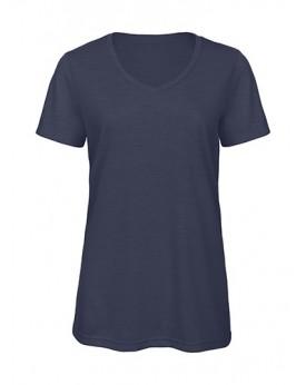 T-Shirt Col V Femme Triblend - Tee-shirt Personnalisé avec marquage broderie, flocage ou impression. Grossiste vetements vier...