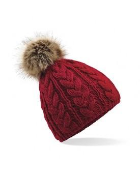 Bonnet maille torsadée avec pom pom en fausse fourrure - Casquette Personnalisée avec marquage broderie, flocage ou impressio...