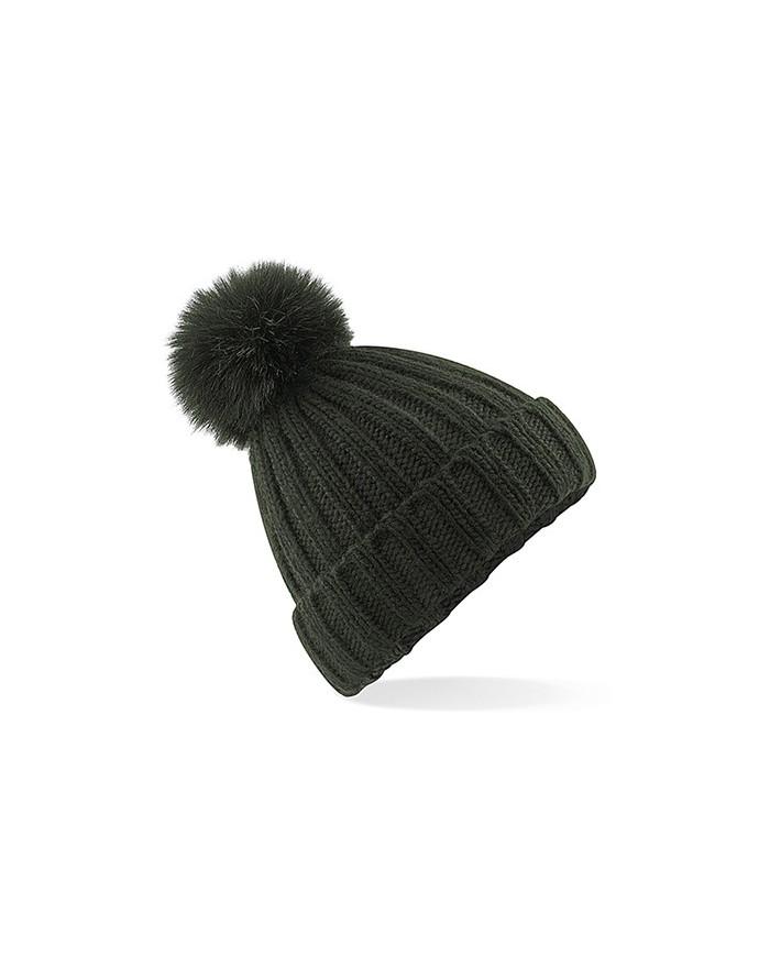 Bonnet à Pop Pom en maille épaisse et fausse fourrure Verbier - Casquette Personnalisée avec marquage broderie, flocage ou im...