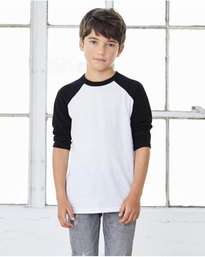 T-Shirt Baseball Enfant Manches 3/4 - Vêtements Enfant Personnalisés avec marquage broderie, flocage ou impression. Grossiste...