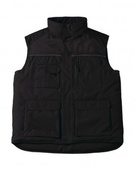Bodywarmer Expert Pro Vêtement de travail matelassé, col droit doublé polaire - Veste Personnalisée avec marquage broderie, f...