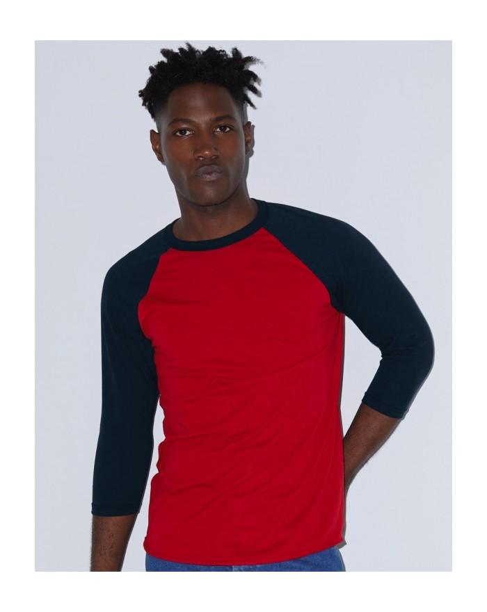 T-Shirt Raglan Unisexe Poly-Coton Manches 3/4 - Tee-shirt Personnalisé avec marquage broderie, flocage ou impression. Grossis...