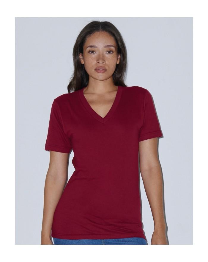 Unisex Fine Jersey Col-V T-Shirt New