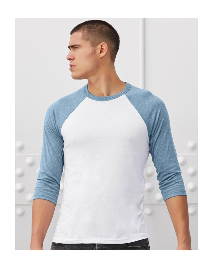T-Shirt Baseball Unisexe Manches 3/4 - Tee shirt Personnalisé avec marquage broderie, flocage ou impression. Grossiste veteme...