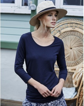 Femme 3/4 Manche Stretch T-Shirt Outlet