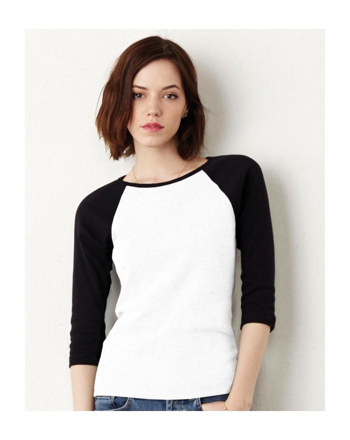 T-Shirt Manches 3/4 Raglan contrastées - Tee-shirt Personnalisé avec marquage broderie, flocage ou impression. Grossiste vete...