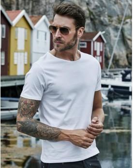 T-Shirt Col Brut - Tee-shirt Personnalisé avec marquage broderie, flocage ou impression. Grossiste vetements vierge à personn...