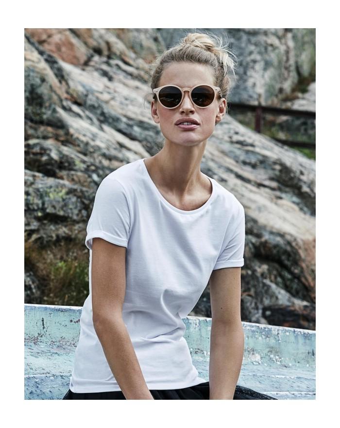 T-Shirt Femme Roll-Up - Tee-shirt Personnalisé avec marquage broderie, flocage ou impression