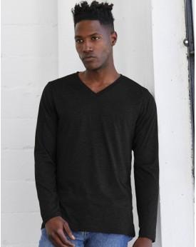 T-Shirt Col-V Unisexe Triblend LS - Tee-shirt Personnalisé avec marquage broderie, flocage ou impression. Grossiste vetements...