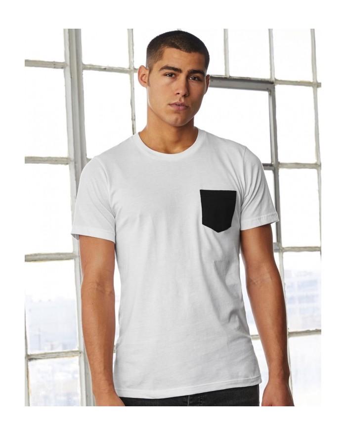 T-shirt homme Jersey à Poche - Tee shirt Personnalisé avec marquage broderie, flocage ou impression. Grossiste vetements vier...