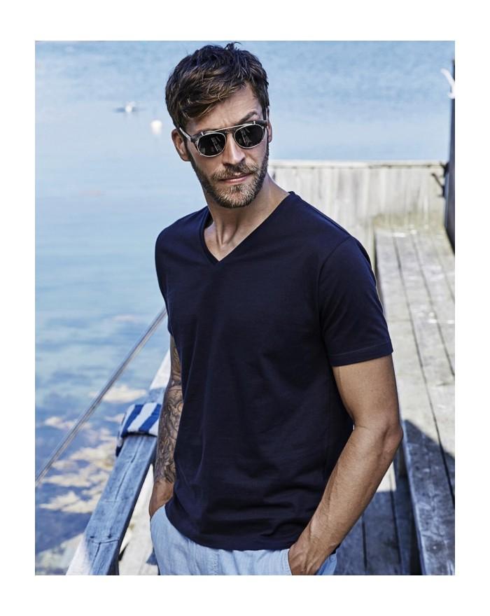 T-shirt homme Fashion Col-V coton longues fibres ·coton prérétréci 2 fois - Tee-shirt Personnalisé avec marquage broderie, fl...