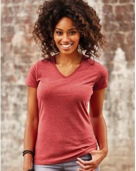 T-Shirt Femme Col-V HD polycoton - Tee-shirt Personnalisé avec marquage broderie, flocage ou impression. Grossiste vetements ...