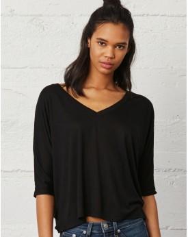 T-Shirt Col-V Boxy Viscose - Tee-shirt Personnalisé avec marquage broderie, flocage ou impression. Grossiste vetements vierge...
