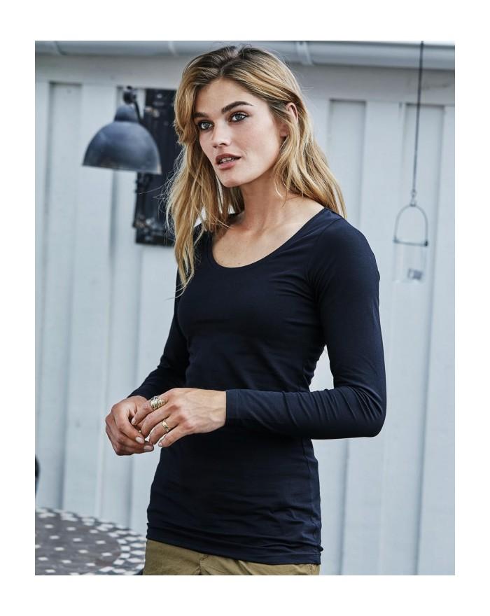 T-Shirt Femme Stretch LS Extra Long - Tee-shirt Personnalisé avec marquage broderie, flocage ou impression. Grossiste vetemen...