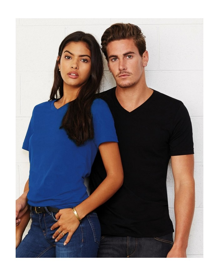 T-Shirt Col-V Unisexe Jersey - Tee-shirt Personnalisé avec marquage broderie, flocage ou impression. Grossiste vetements vier...