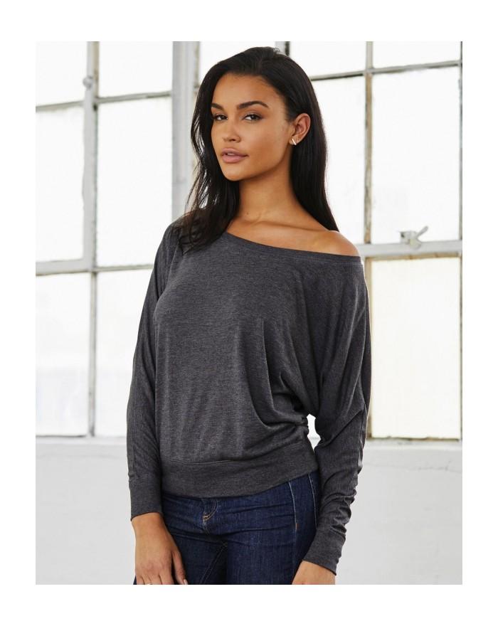 T-shirt manches longues épaules dénudées - Tee shirt Personnalisé avec marquage broderie, flocage ou impression. Grossiste ve...