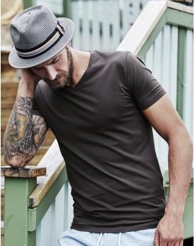 T-Shirt Homme Col V Stretch - Tee-shirt Personnalisé avec marquage broderie, flocage ou impression. Grossiste vetements vierg...