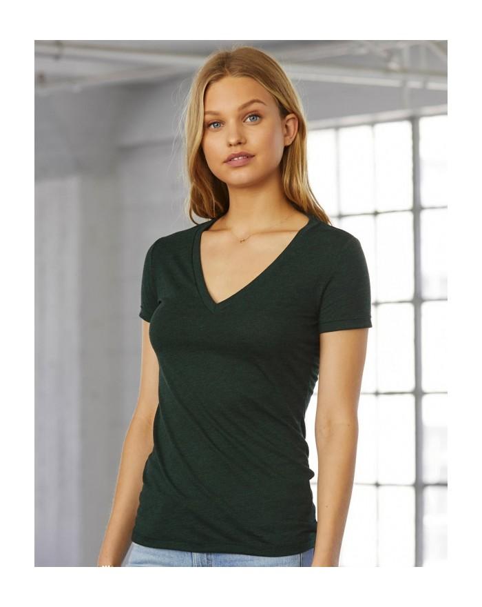 T-Shirt Femme Col-V Profond Triblend - Tee-shirt Personnalisé avec marquage broderie, flocage ou impression. Grossiste veteme...