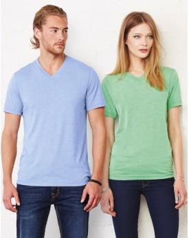 T-Shirt Unisexe Col-V Triblend - Tee-shirt Personnalisé avec marquage broderie, flocage ou impression. Grossiste vetements vi...
