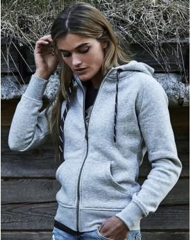 Sweat Femme Fashion Full Zip à Capuche - Sweat Personnalisé avec marquage broderie, flocage ou impression. Grossiste vetement...
