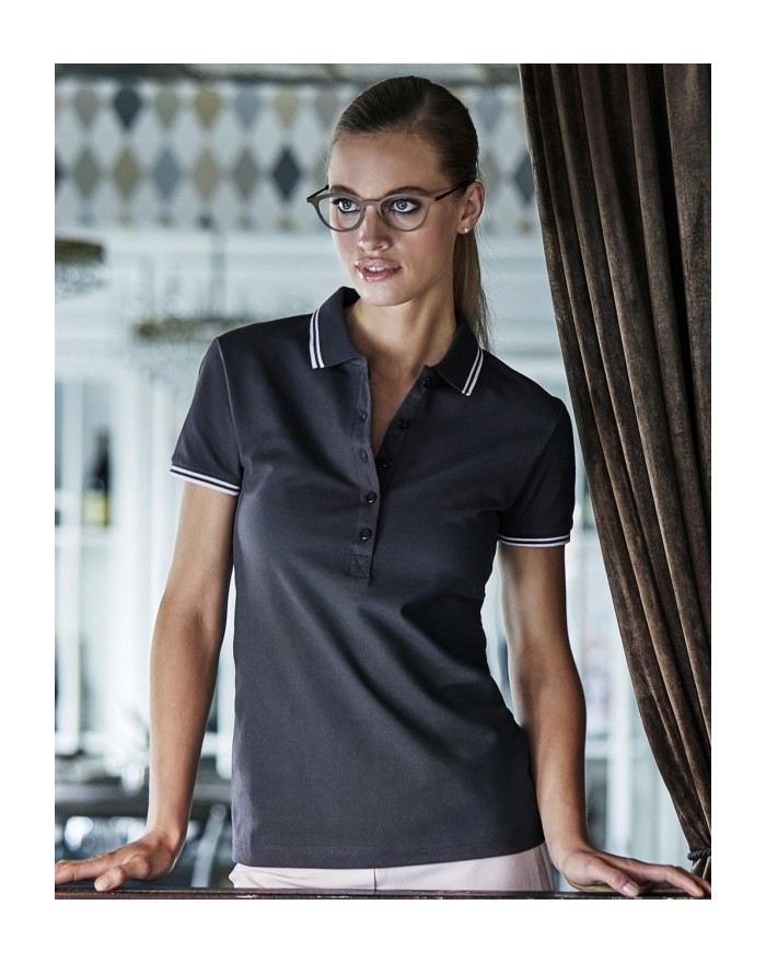 Polo Femme Luxury à Bandes Stretch - Polo Personnalisé avec marquage broderie, flocage ou impression. Grossiste vetements vie...
