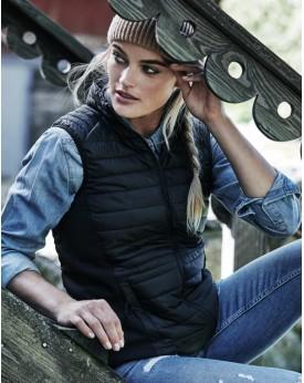 Bodywarmer Femme Crossover Rembourrage et doublure, Hydrofuge - Veste Personnalisée avec marquage broderie, flocage ou impres...