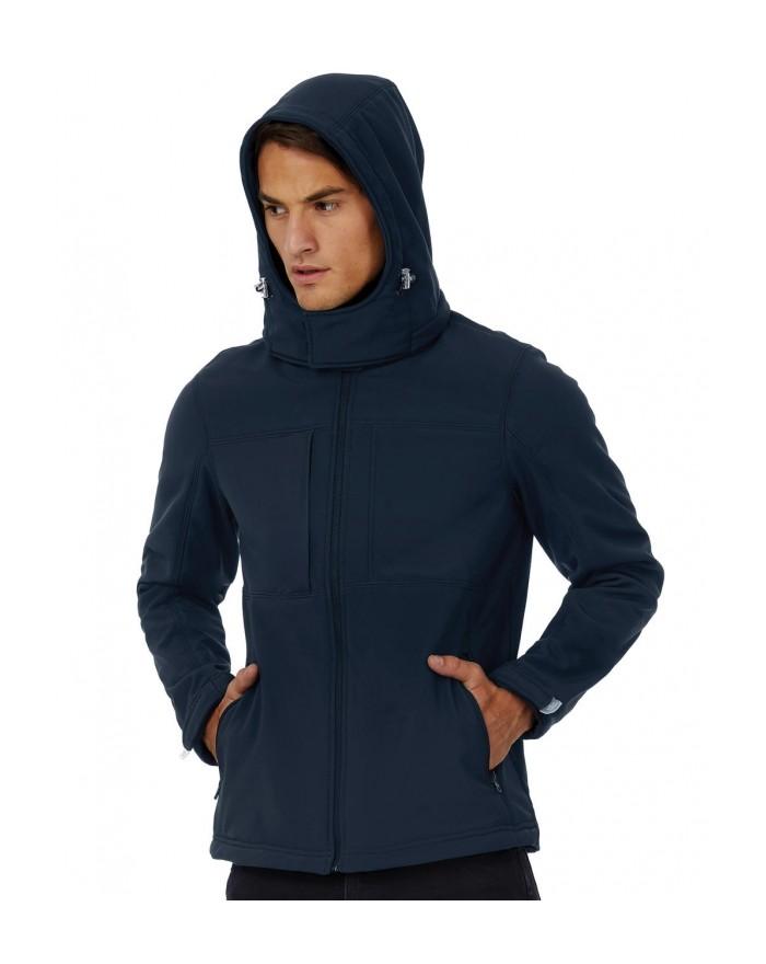 Softshell à capuche/Homme membrane et doublure respirante - Veste Softshell Personnalisée avec marquage broderie, flocage ou ...