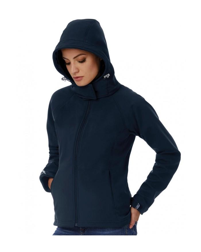 Softshell à capuche/Femme membrane et doublure respirante - Veste Softshell Personnalisée avec marquage broderie, flocage ou ...
