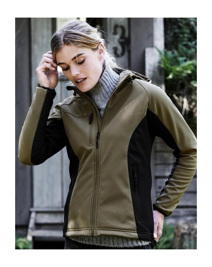 Softshell Femme Lightweight Performance à capuche Membrane TPU - Veste Softshell Personnalisée avec marquage broderie, flocag...