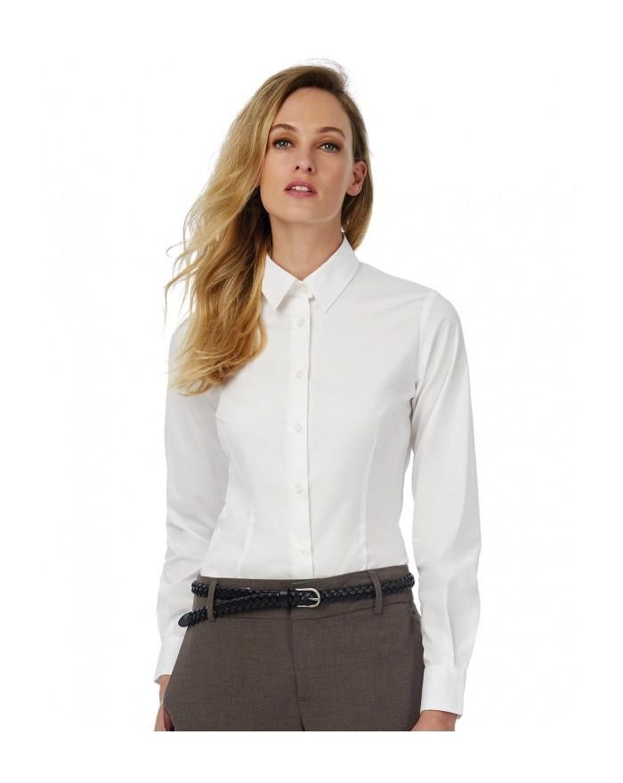 Chemise Femme Black Tie LSL - Chemise d'entreprise Personnalisée avec marquage broderie, flocage ou impression. Grossiste vet...