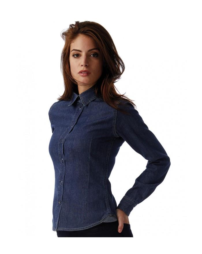Chemise Femme Denim DNM Vision LS - Chemise d'entreprise Personnalisée avec marquage broderie, flocage ou impression. Grossis...