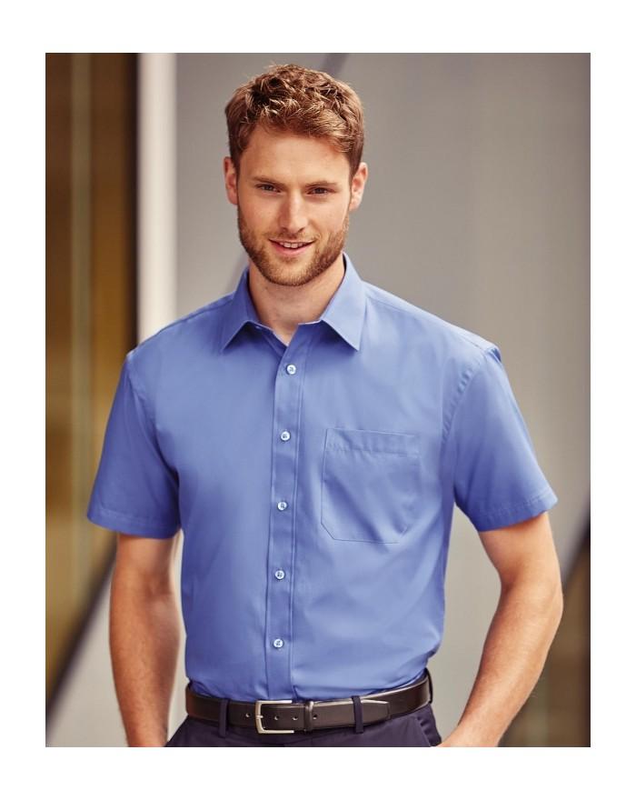Chemise coton-Popelin Manches courtes Russell - Chemise d'entreprise Personnalisée avec marquage broderie, flocage ou impress...