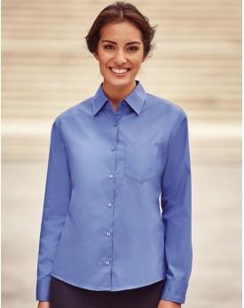 Chemise Femme coton-Popelin Manches Longues Russell - Chemise d'entreprise Personnalisée avec marquage broderie, flocage ou i...