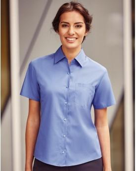Chemise Femme coton-Popelin Manches courtes Russell - Chemise d'entreprise Personnalisée avec marquage broderie, flocage ou i...