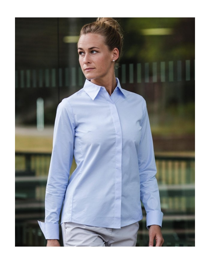 Chemise Femme LS Ultimate Stretch - Chemise d'entreprise Personnalisée avec marquage broderie, flocage ou impression. Grossis...