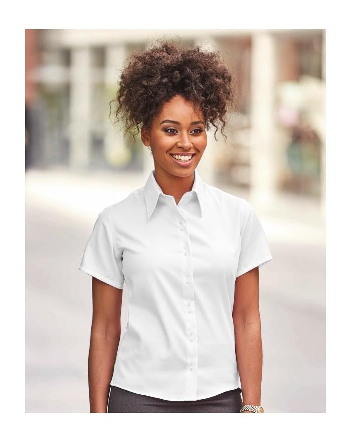 Chemise femme manches courtes Ultimate sans repassage - Chemise d'entreprise Personnalisée avec marquage broderie, flocage ou...