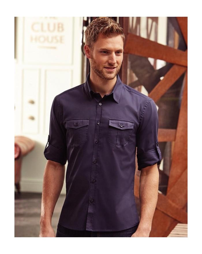 Chemise Homme Manches retroussables LS - Chemise d'entreprise Personnalisée avec marquage broderie, flocage ou impression