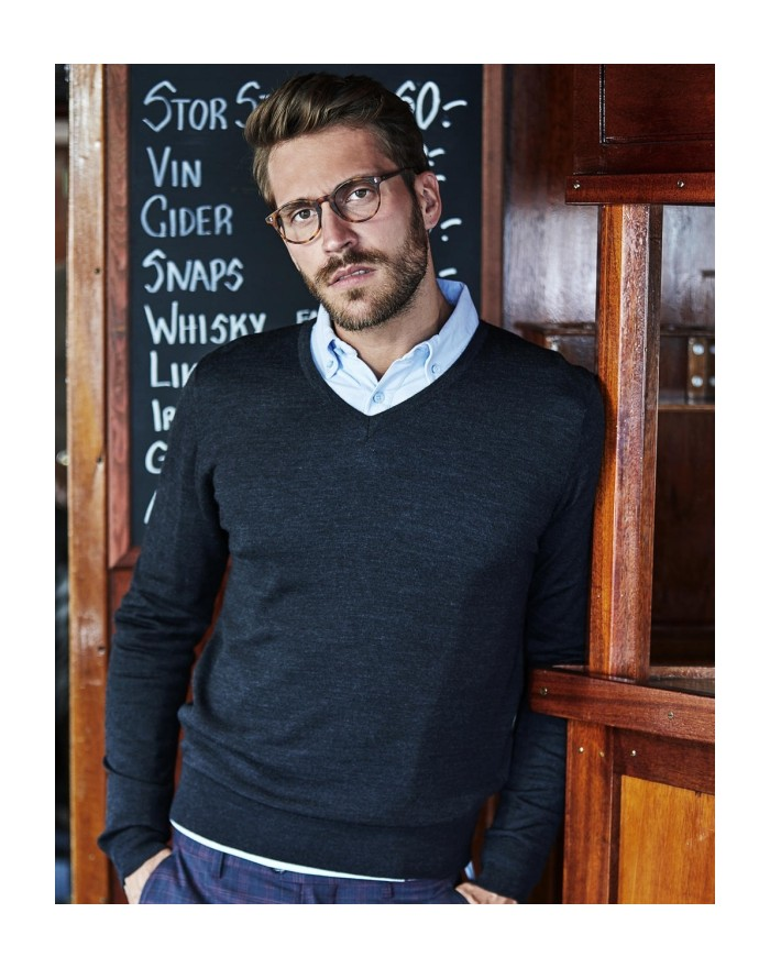 Sweater Homme Col-V - Chemise d'entreprise Personnalisée avec marquage broderie, flocage ou impression. Grossiste vetements v...