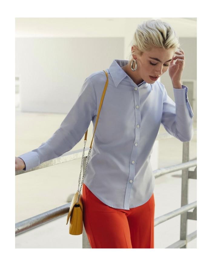 Chemise Femme Oxford LS - Chemise d'entreprise Personnalisée avec marquage broderie, flocage ou impression. Grossiste vetemen...