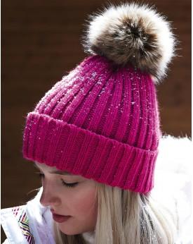 Fur Pop Pom Chunky Bonnet Casquettes & Accessoires