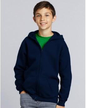 Sweat à Capuche Enfant coton lourd mélangé Full Zip - Vêtements Enfant Personnalisés avec marquage broderie, flocage ou impre...