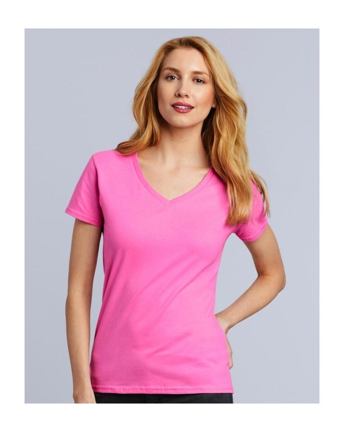 T-Shirt Femme Col-V Premium Coton - Tee-shirt Personnalisé avec marquage broderie, flocage ou impression. Grossiste vetements...