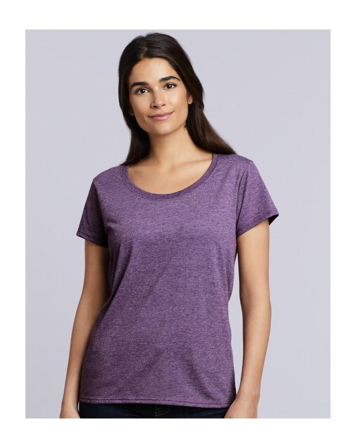 T-Shirt Jersey semi-peigné Femme Col Rond Profond - Tee-shirt Personnalisé avec marquage broderie, flocage ou impression. Gro...