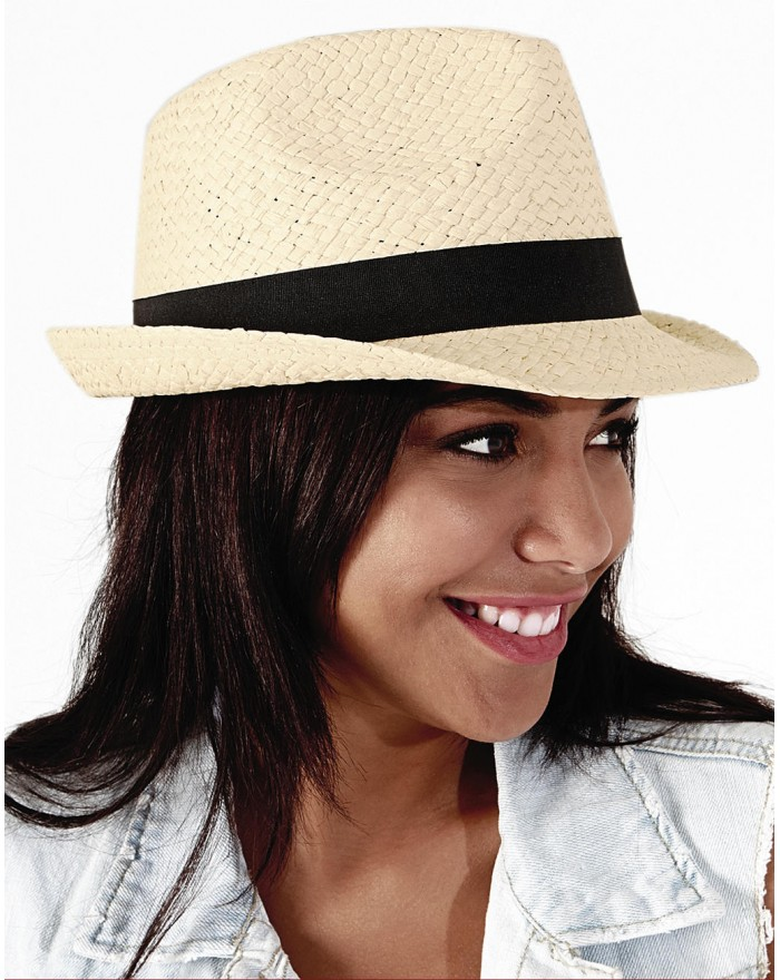 Chapeau mou de festival en paille papier - Casquette Personnalisée avec marquage broderie, flocage ou impression. Grossiste v...
