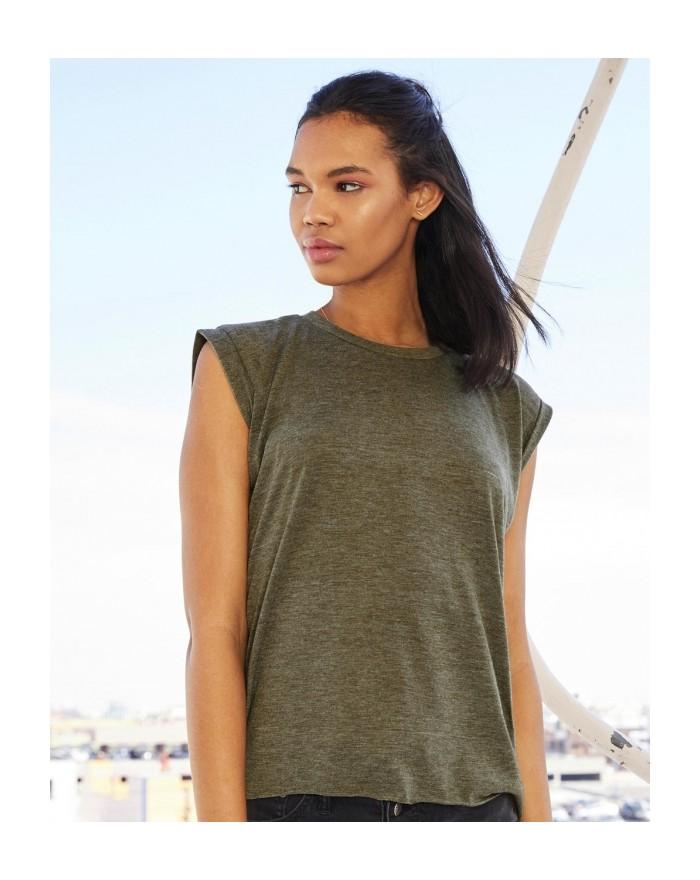 T-Shirt Femme manchettes roulées Viscose musculation - Tee-shirt Personnalisé avec marquage broderie, flocage ou impression. ...