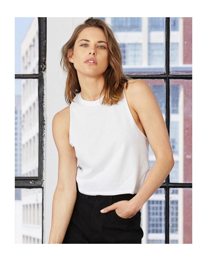Débardeur Femme Racerback Crop - Tee-shirt Personnalisé avec marquage broderie, flocage ou impression. Grossiste vetements vi...