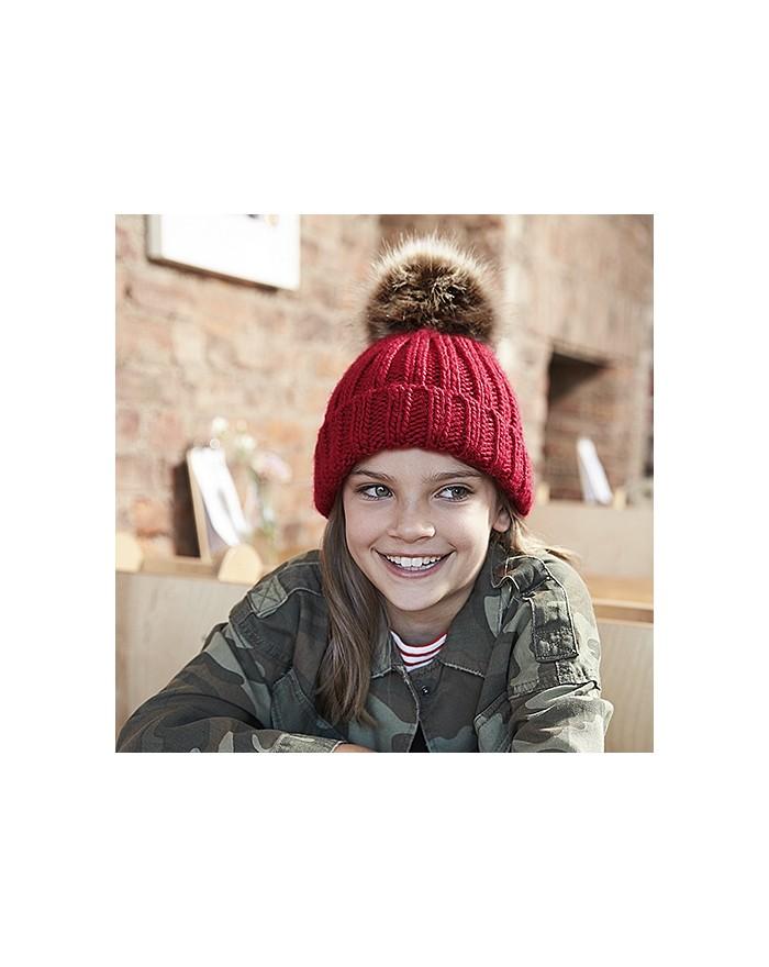 Bonnet en grosse maille pompon en fausse fourrure pour enfant - Casquette Personnalisée avec marquage broderie, flocage ou im...