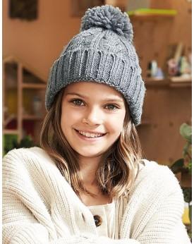 Bonnet en laine mélangée torsadée Junior - Casquette Personnalisée avec marquage broderie, flocage ou impression. Grossiste v...