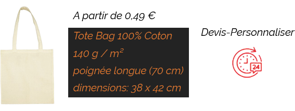 Tote Bag 140 g anses longues